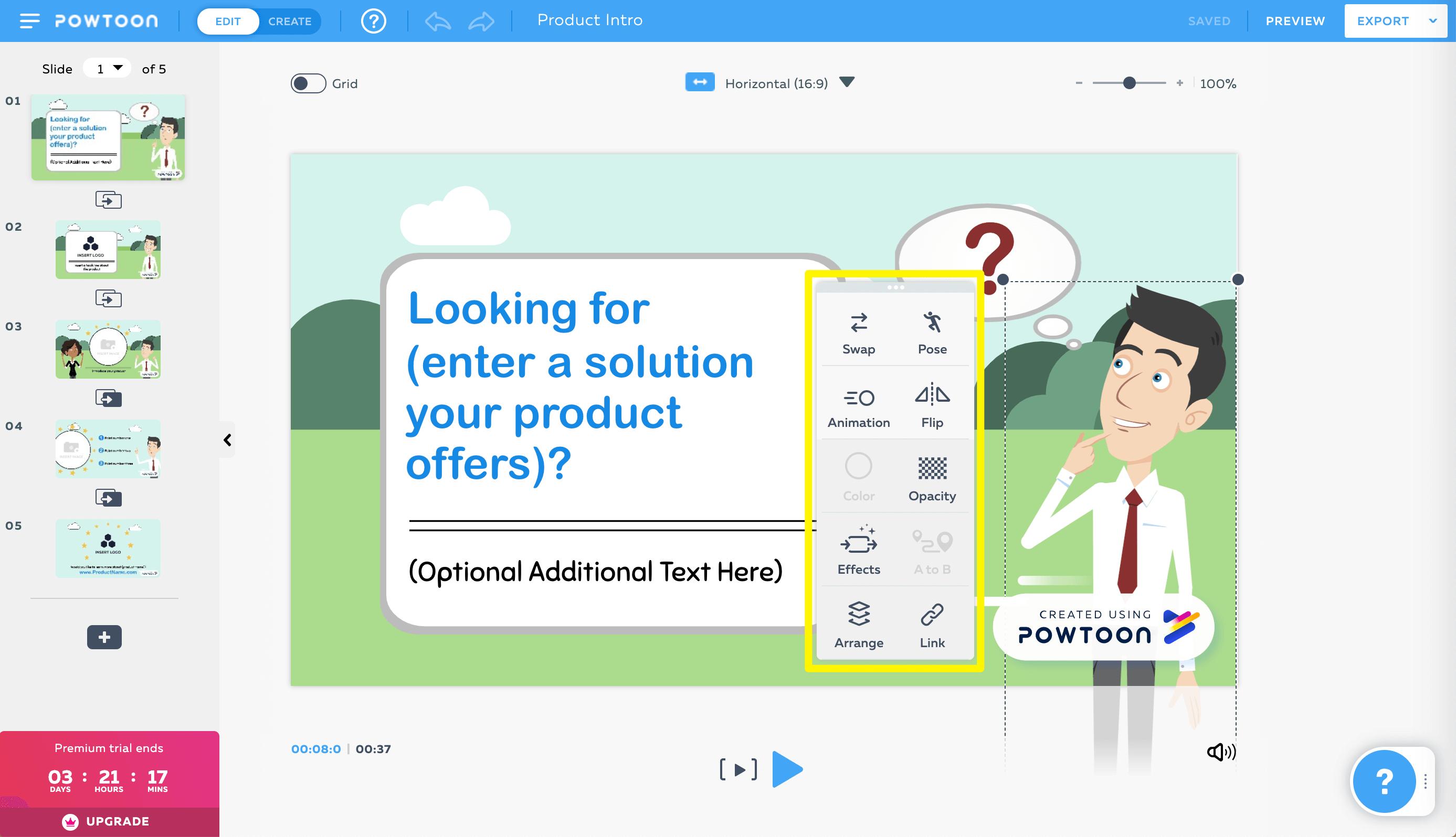 The Powtoon character toolbar options.