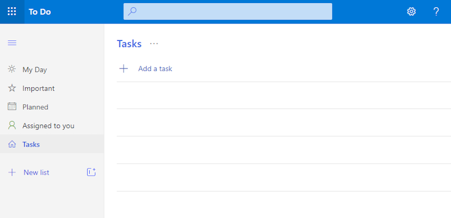 An empty Tasks list in Microsoft To Do.