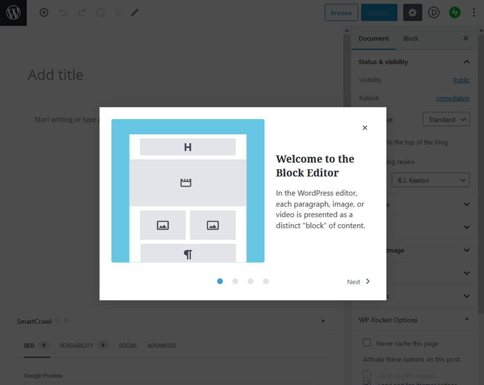 block editor welcome box