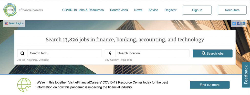 financial careers homepage