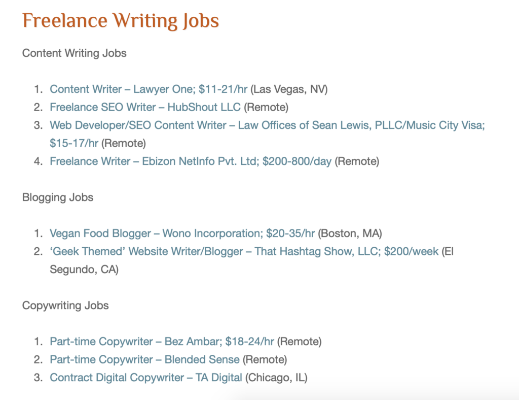 Freelance Writing Gigs homepage