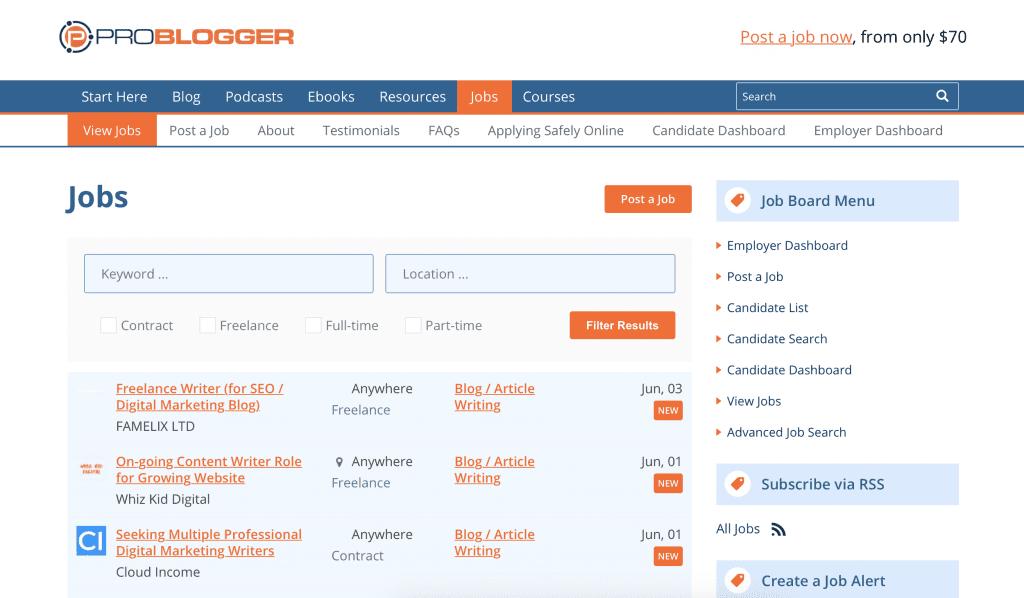 ProBlogger homepage