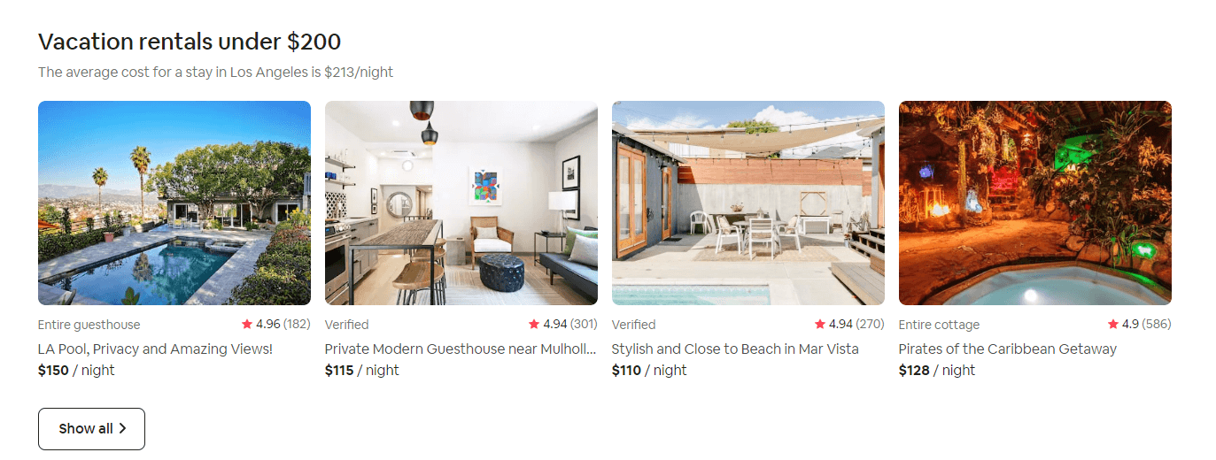 Examples of Airbnb listings.