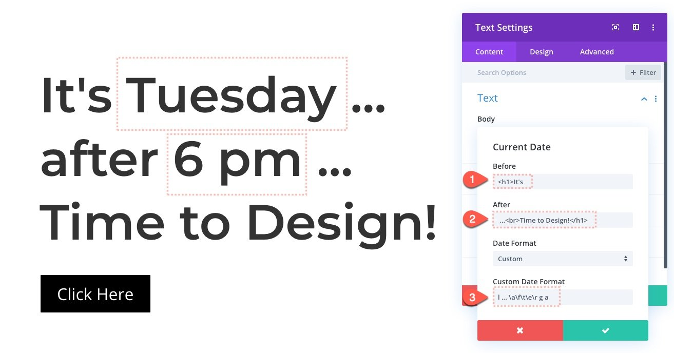 divi date and time formatting