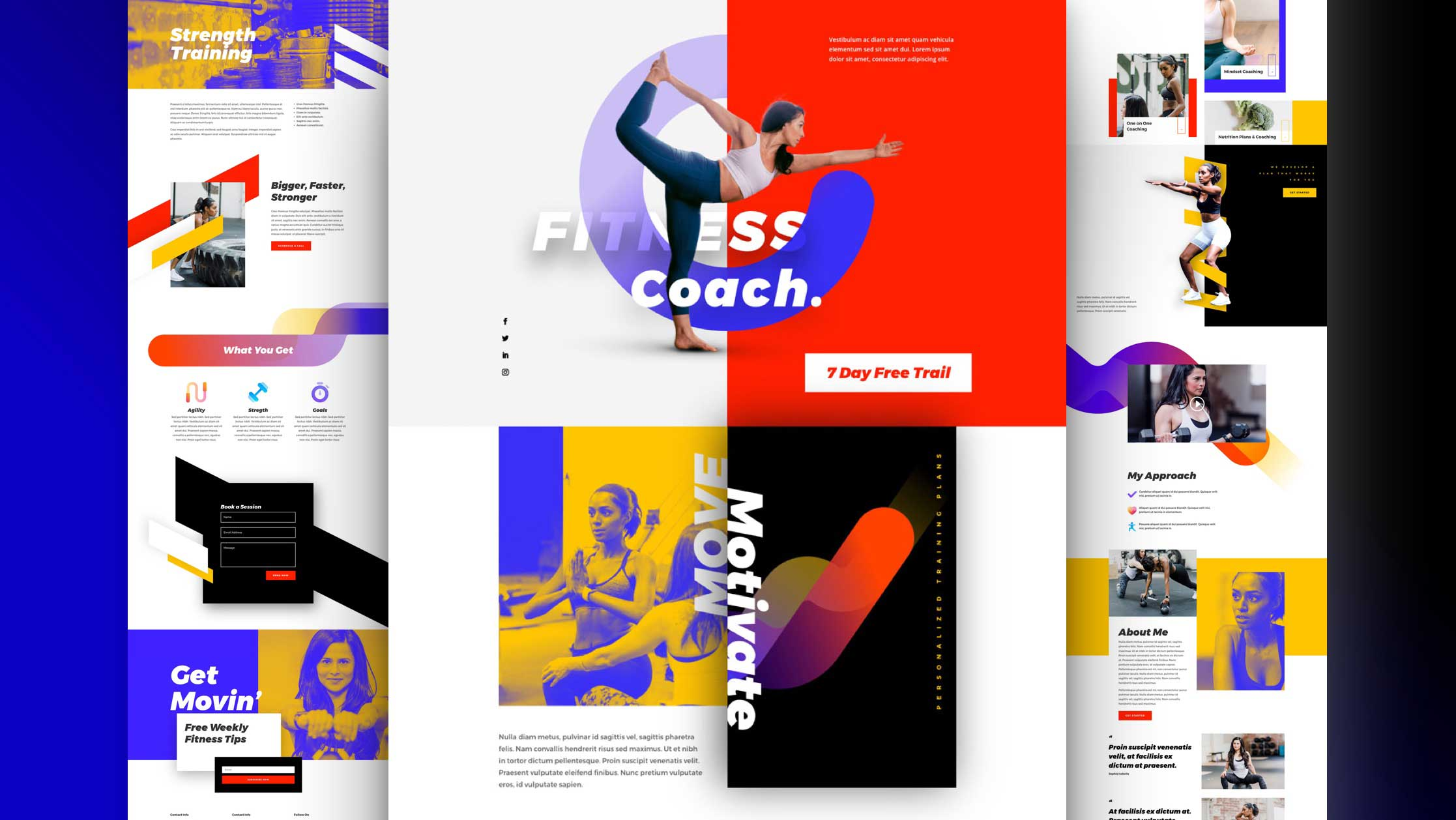 Get a FREE Fitness Coach Layout Pack for Divi