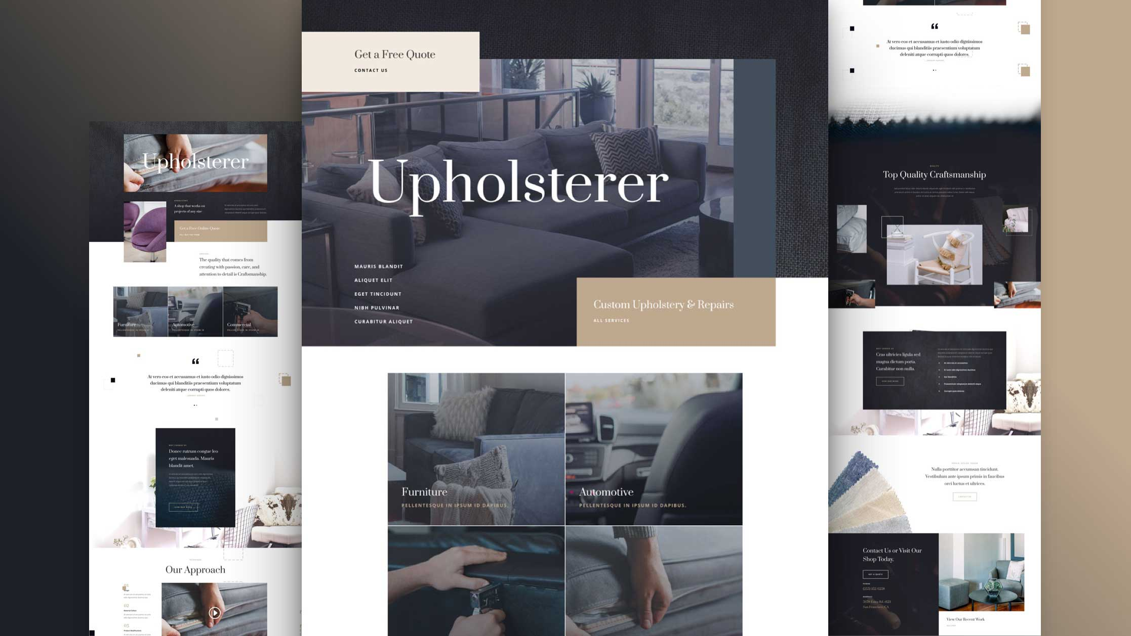 Get a FREE Upholstery Layout Pack for Divi
