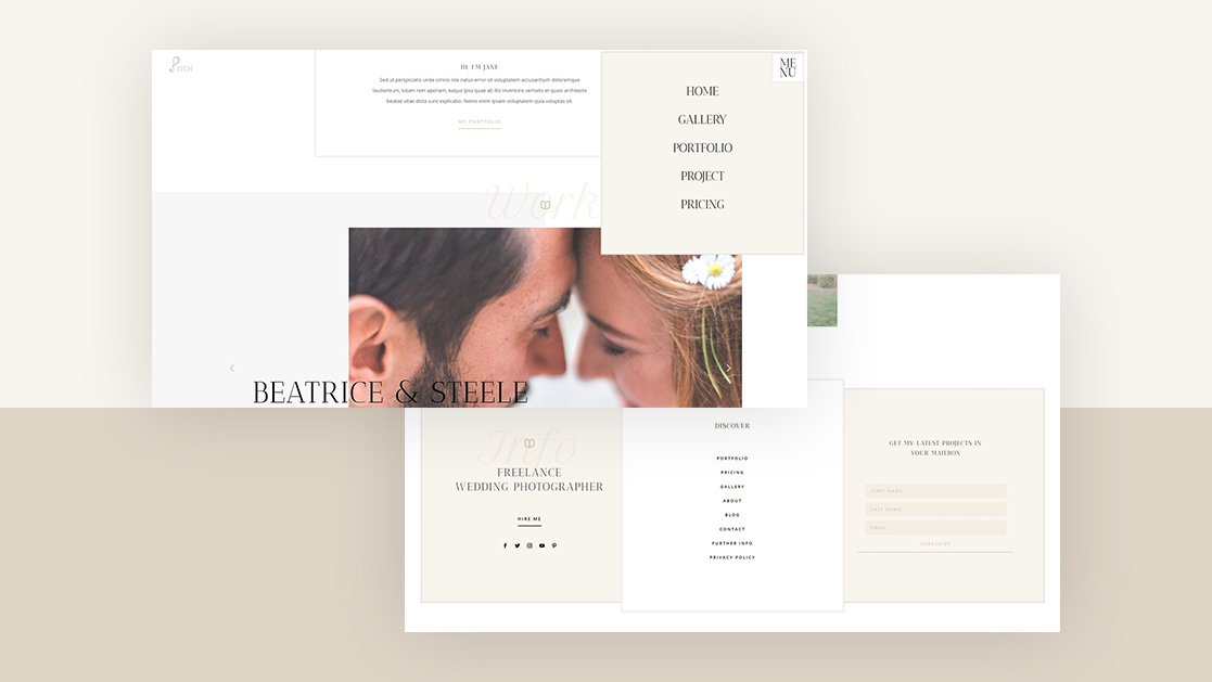 Download a FREE Header & Footer Template for Divi's Wedding Photographer Layout Pack