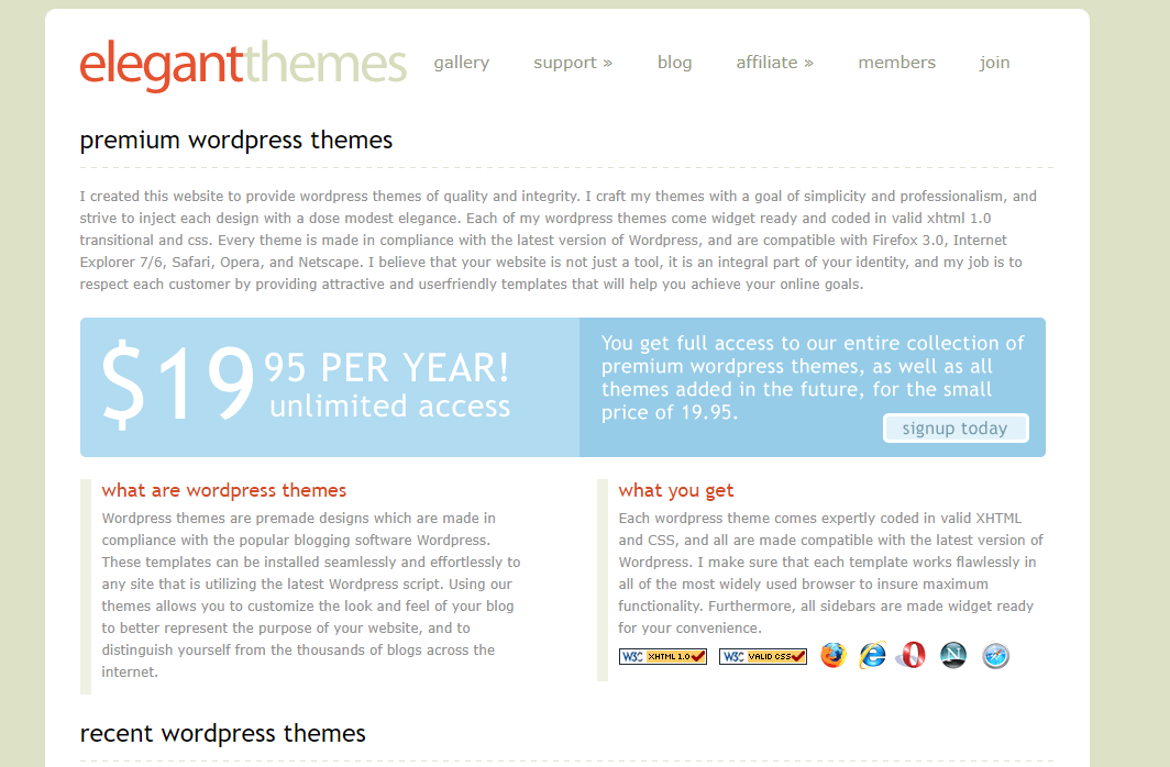 The Elegant Themes website in 2008.