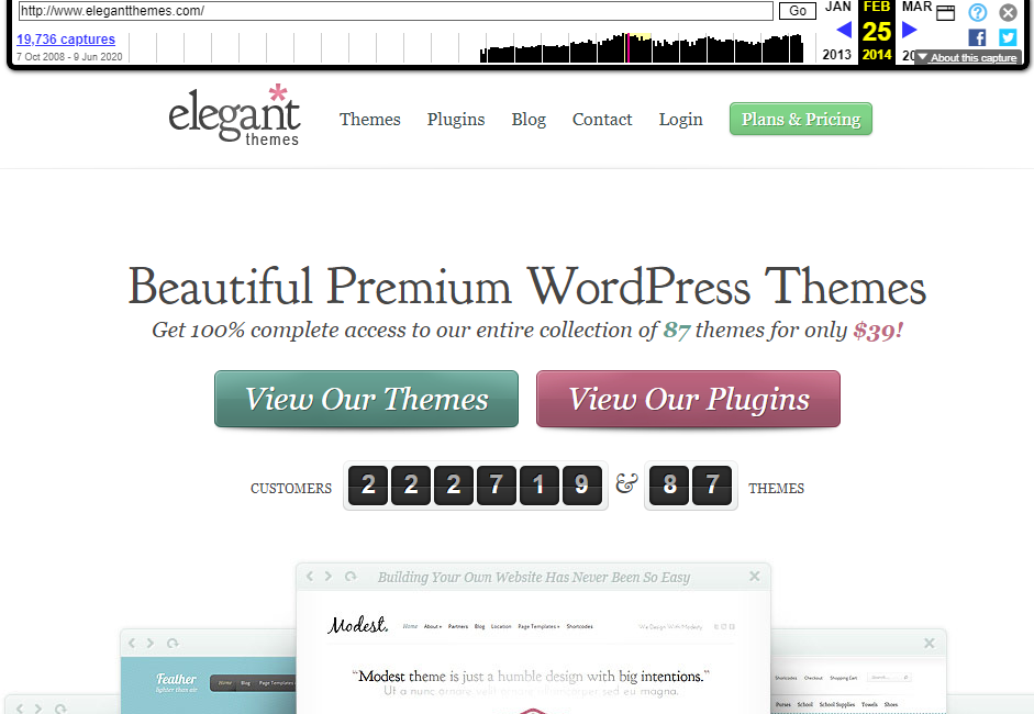 The Elegant Themes website in 2014.