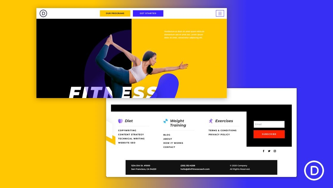 Get a FREE Header & Footer for Divi's Fitness Coach Layout Pack