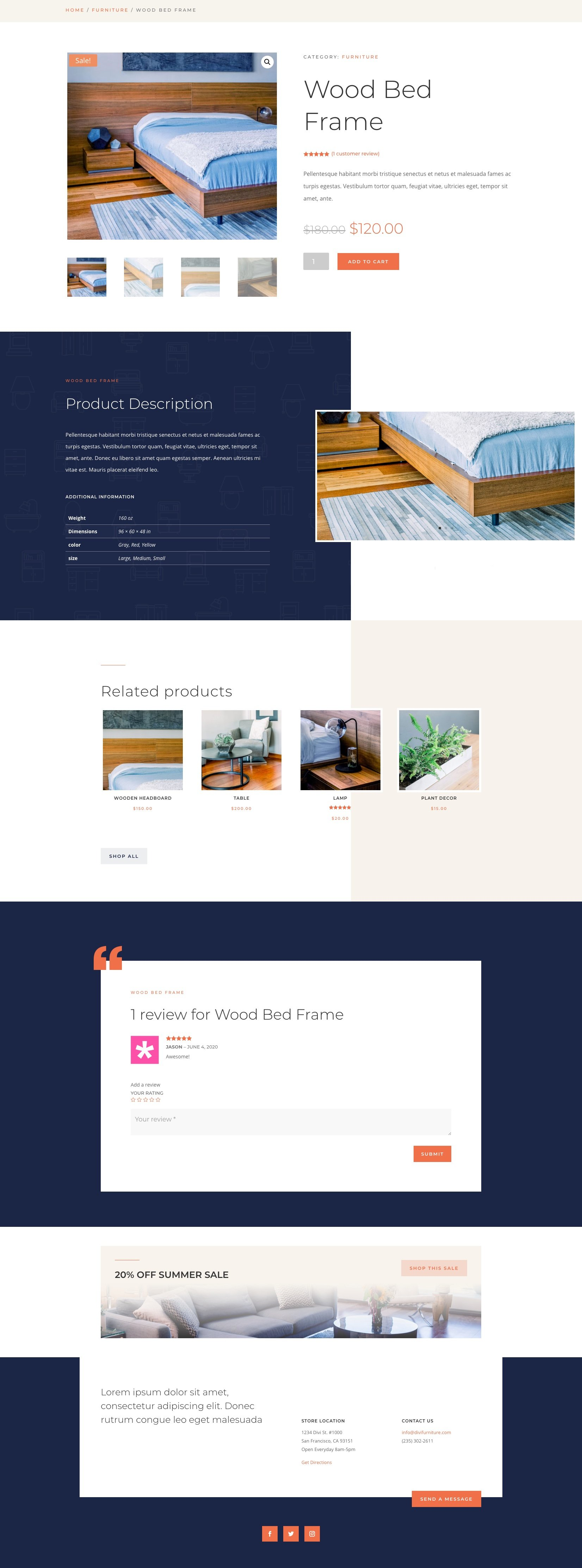divi furniture store product page template