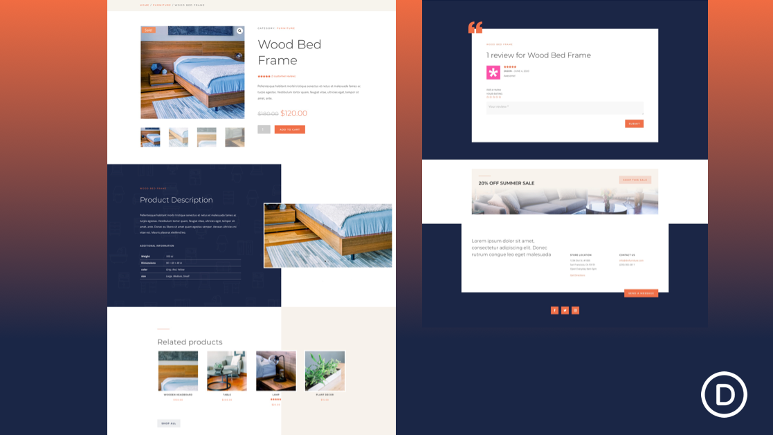 Get a FREE Product Page Template for Divi's Furniture Store Layout Pack