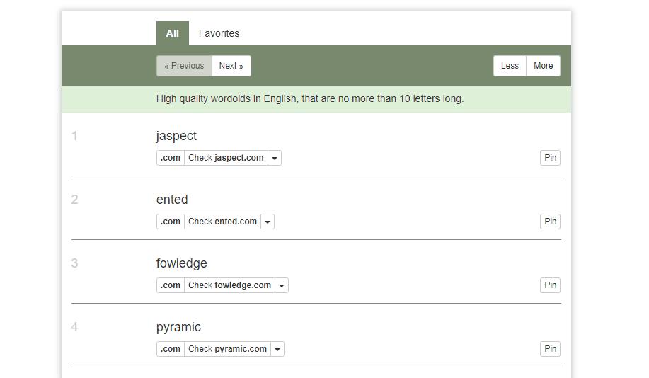 Wordoid's random name results.