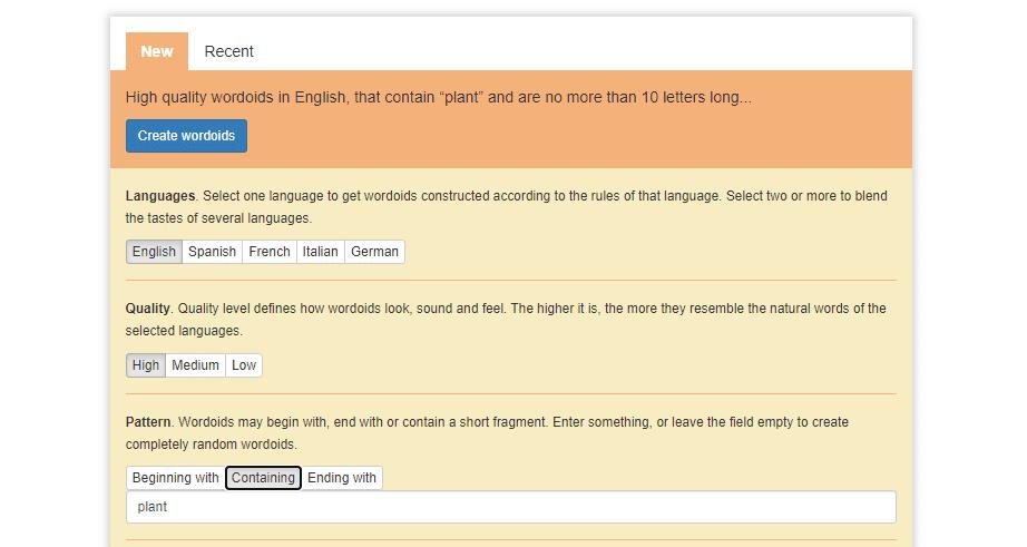 Wordoid's word generation screen.