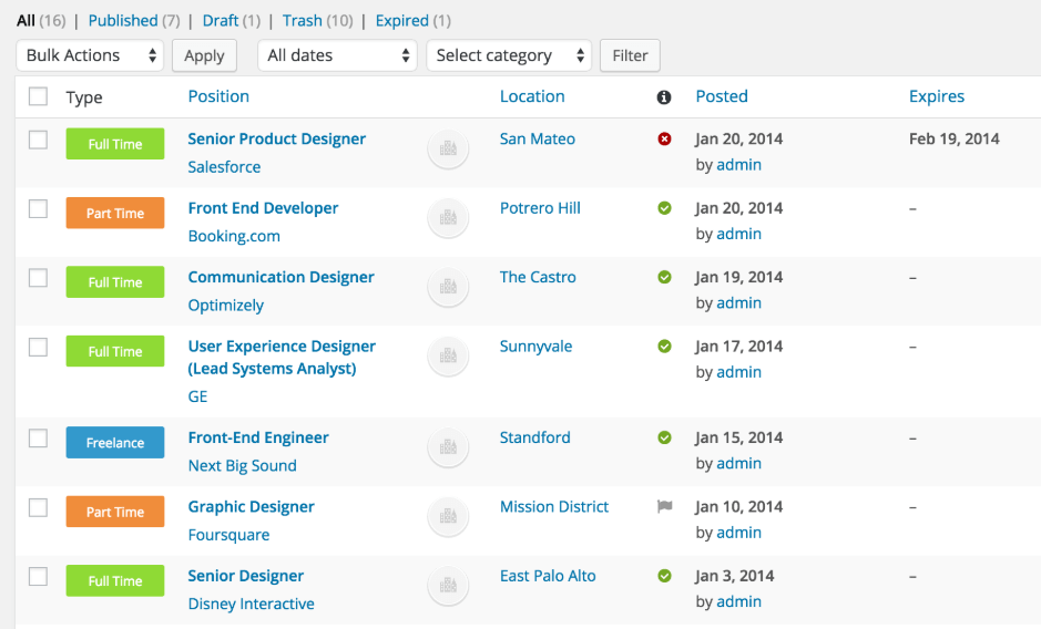 The jobs list in WP Job Manager.