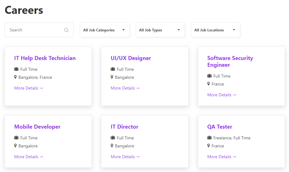 The grid layout for WP Job Openings.