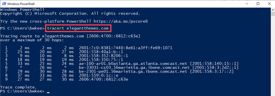 traceroute window in powershell
