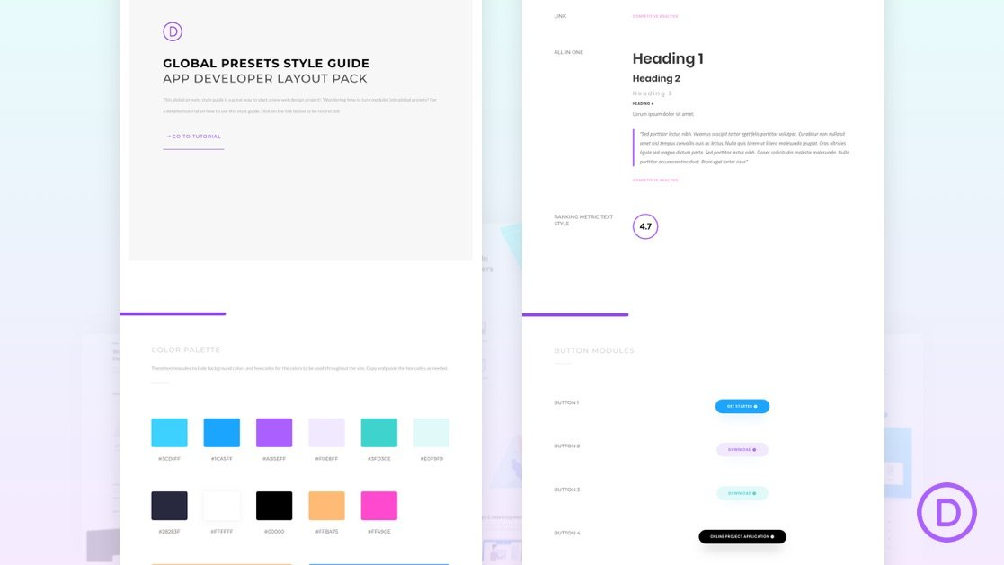 Download a FREE Global Presets Style Guide for Divi's App Developer Layout Pack
