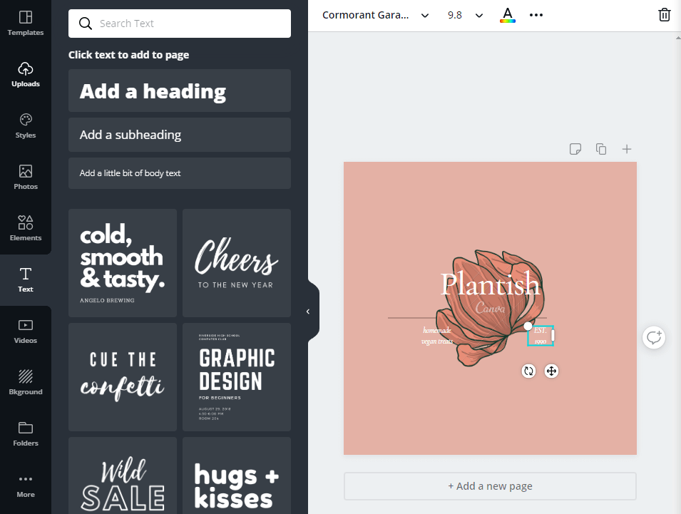 Using a logo making website to edit a design.