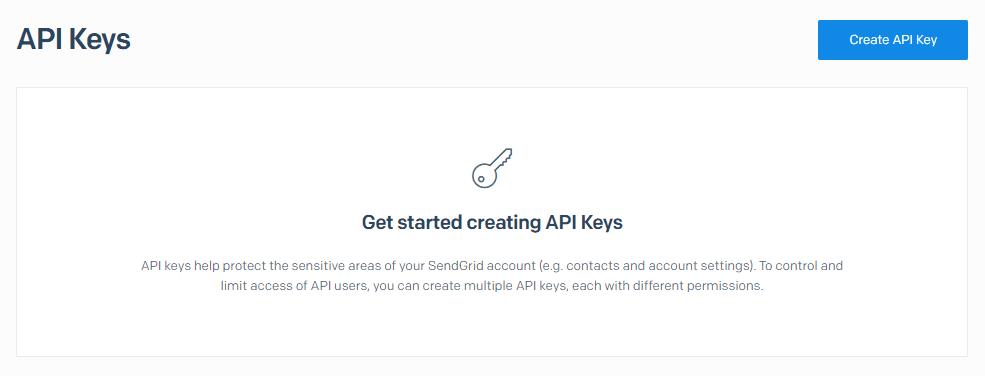 Creating a SendGrid API key.