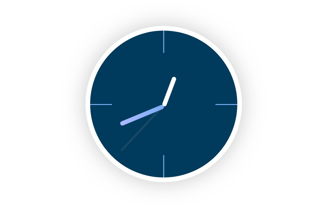 divi animated clock scroll effect