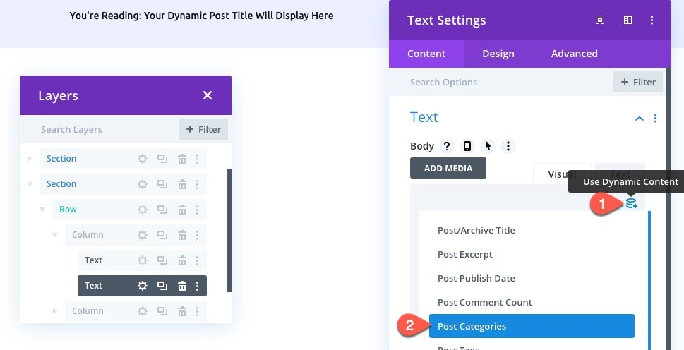 divi dynamic post info bar