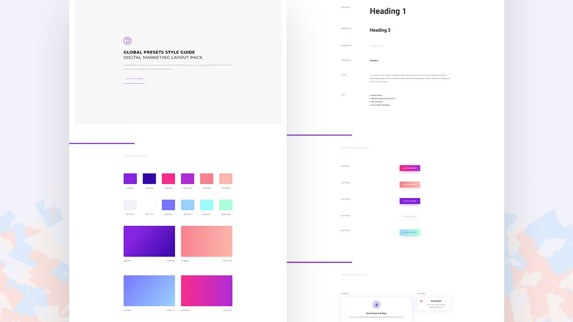 Download a FREE Global Presets Style Guide for Divi's Digital Marketing Layout Pack