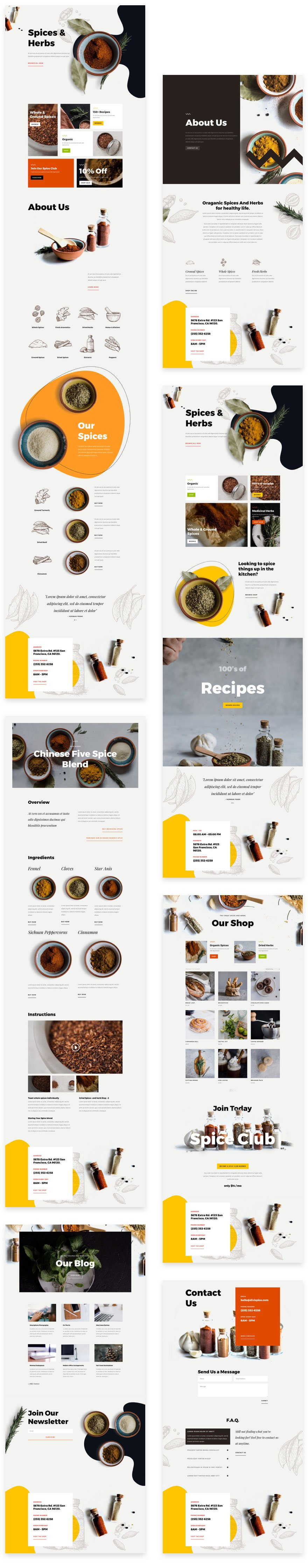 divi spice shop layout pack