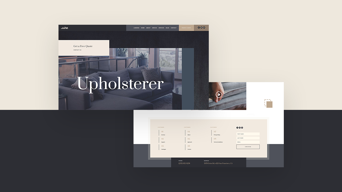 Download a FREE Header & Footer Template for Divi's Upholstery Layout Pack