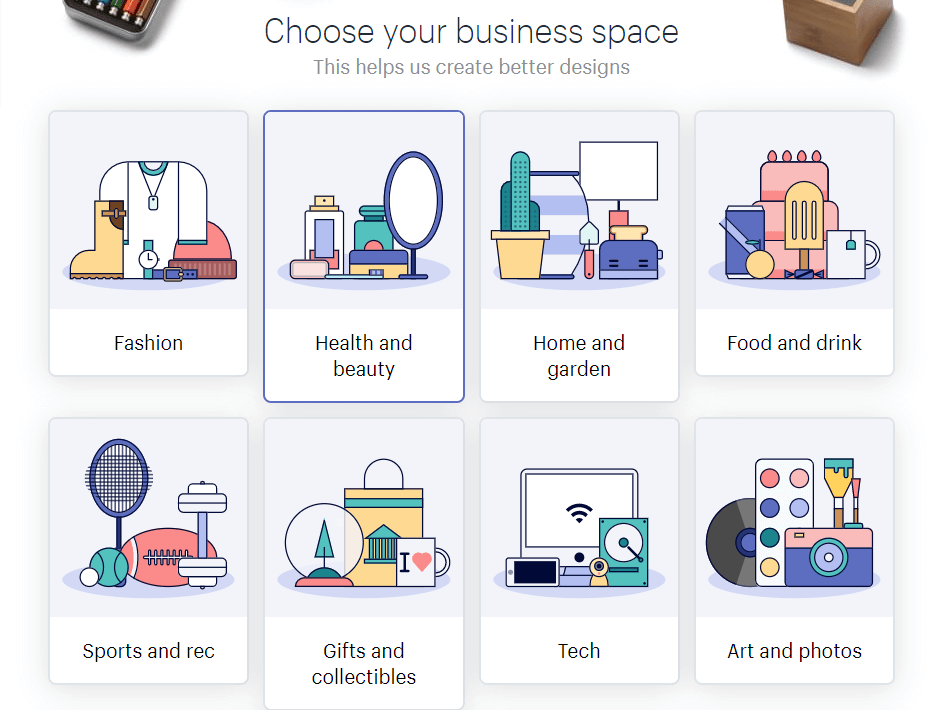 Selecting your business category.