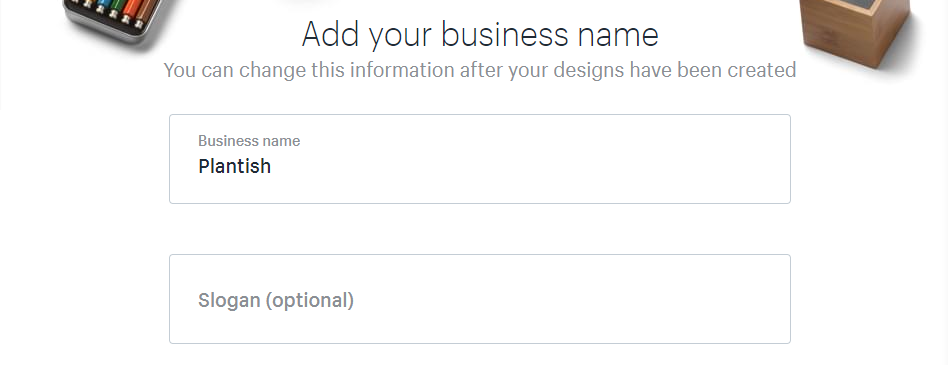 Entering your business name and slogan.