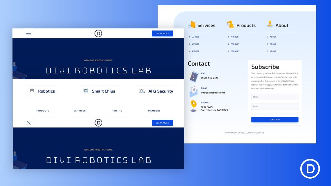 Get a FREE Header & Footer for Divi's Robotics Layout Pack