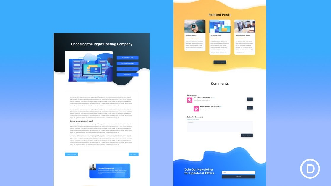 Get a FREE Blog Post Template for Divi's Hosting Company Layout Pack