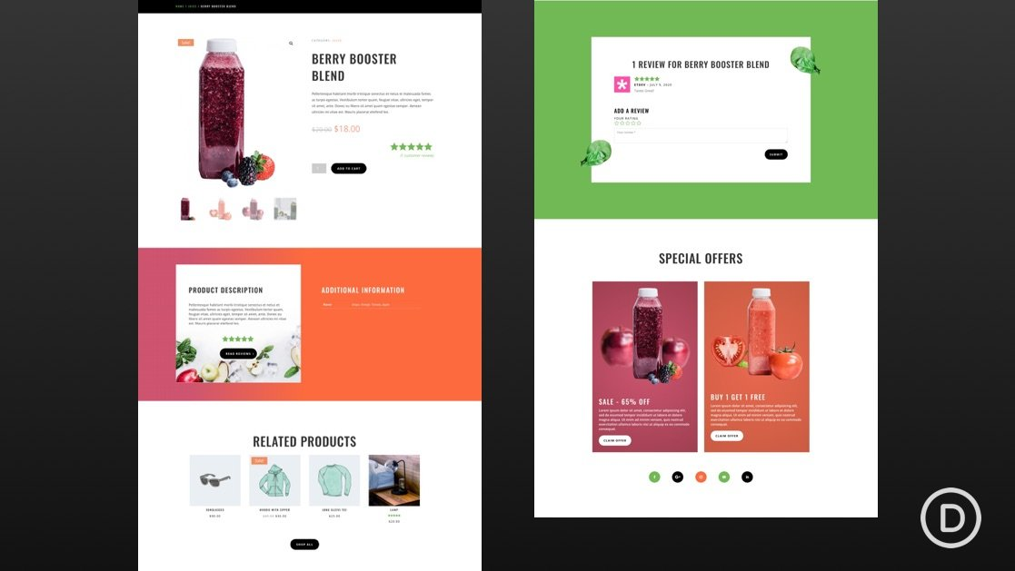 Get a FREE Product Page Template for Divi's Juice Shop Layout