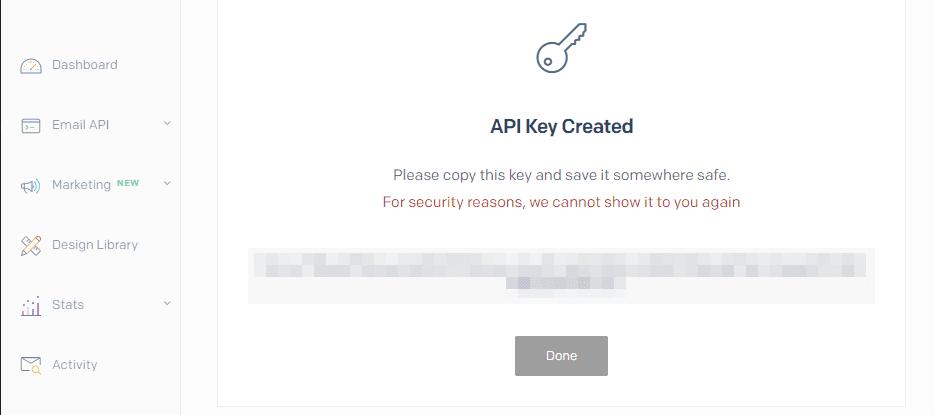 Copying your new SendGrid API key.