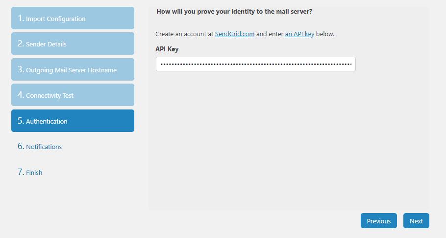 Dán khóa API SendGrid của bạn.