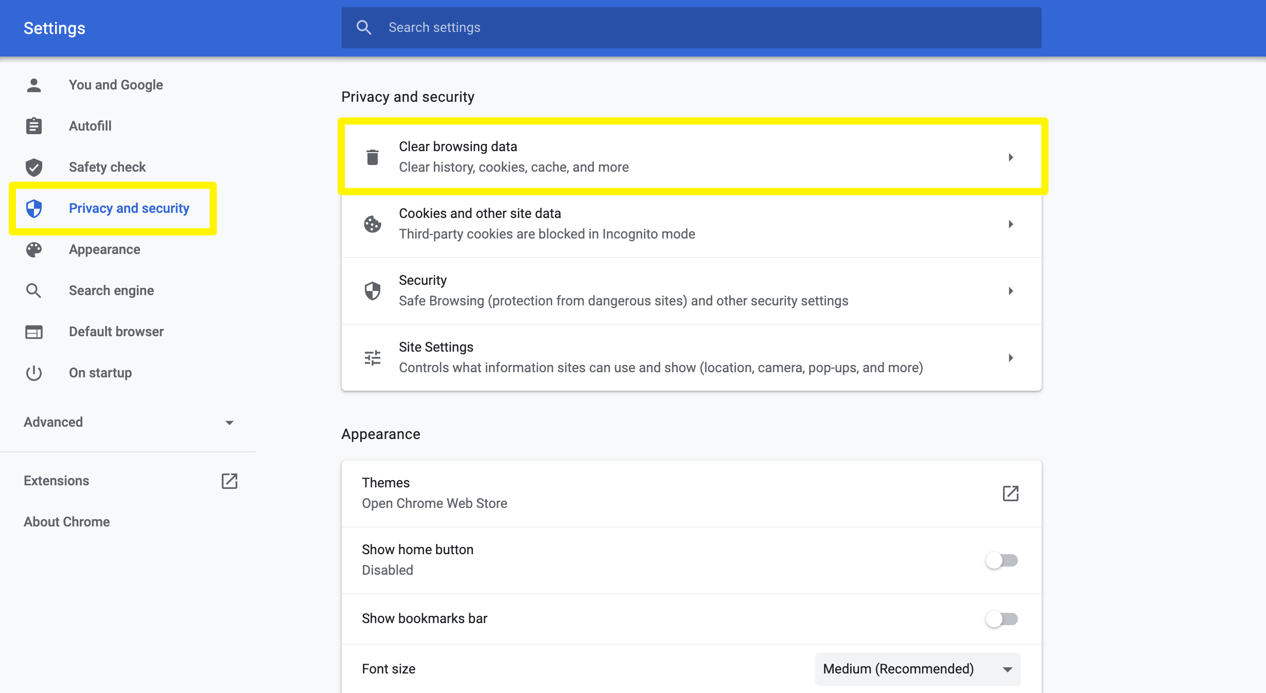 Chrome's privacy and security settings.