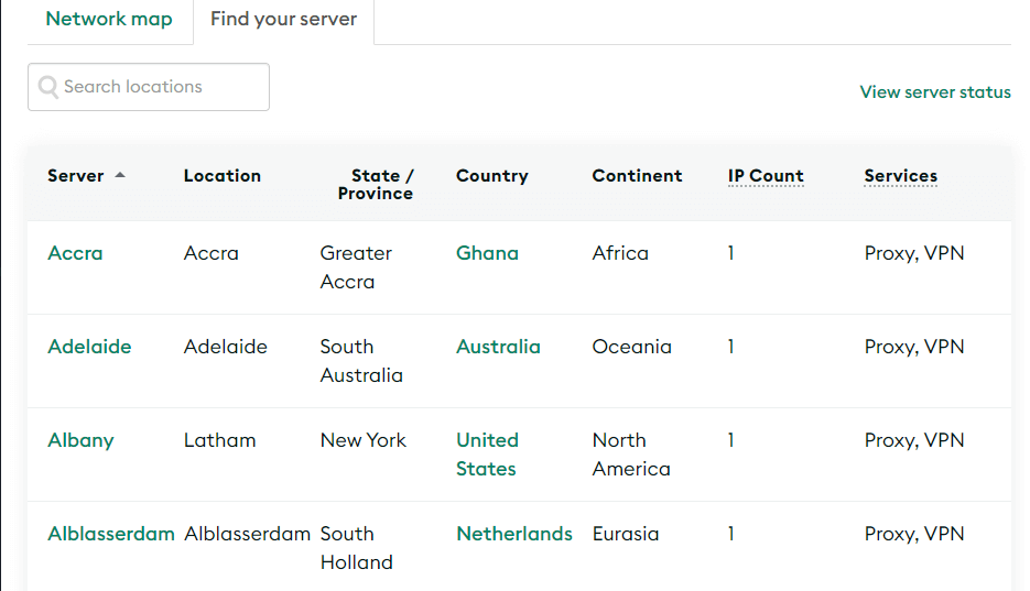 Examples of proxy server locations.