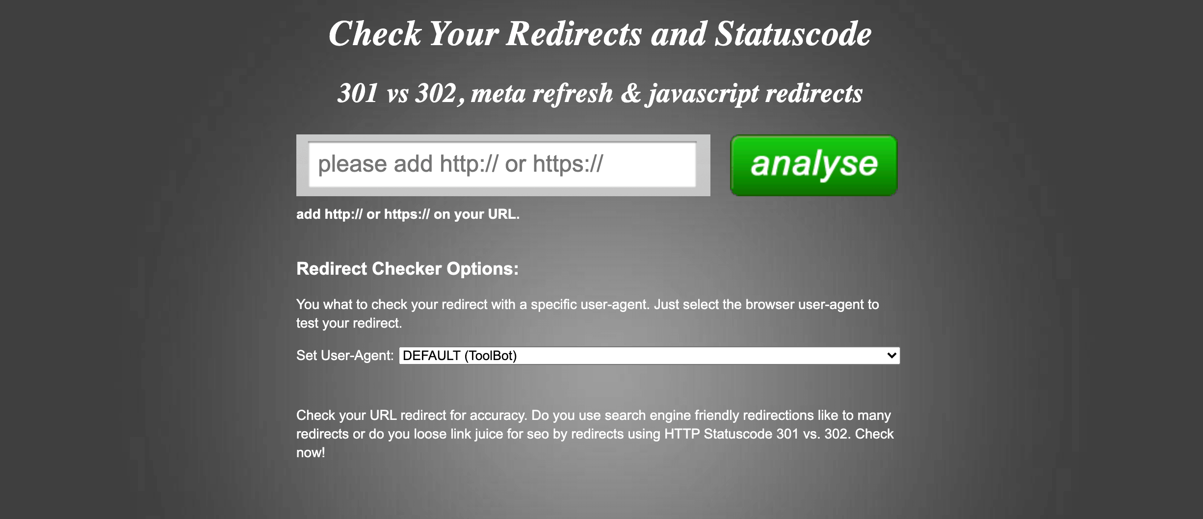 The Redirect Checker tool.