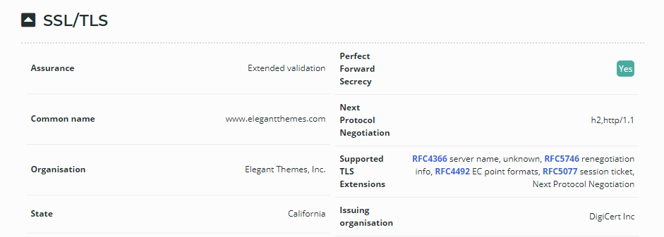 Information on Elegant Themes' SSL certificate.