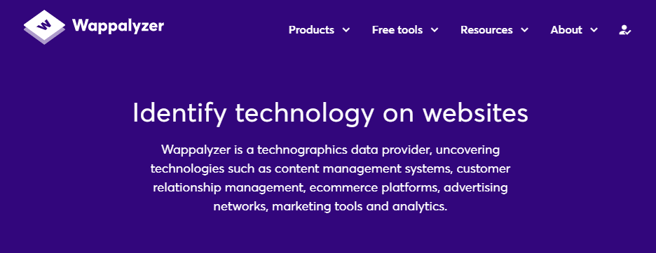 The Wappalyzer home page.