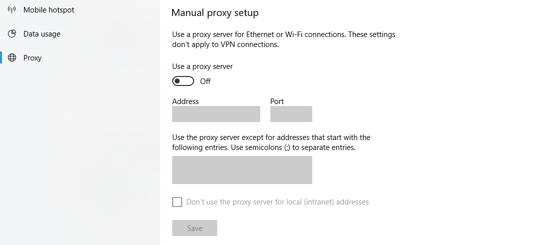 Configuring Windows to use a proxy server.