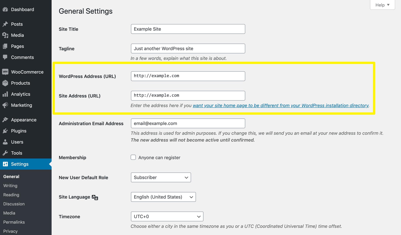 The WordPress Address and Site Address settings.