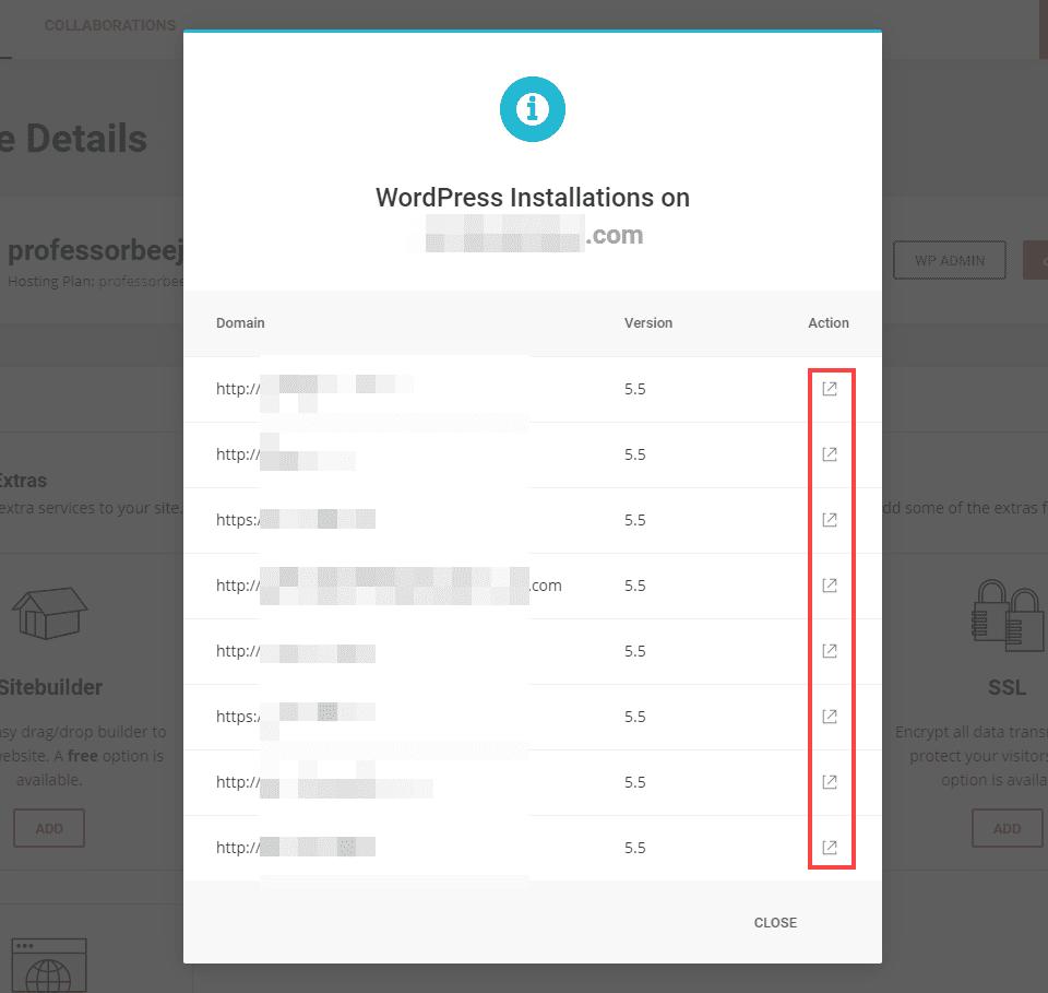 list of wordpress sites on siteground admin
