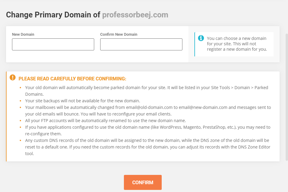 change primary domain warning