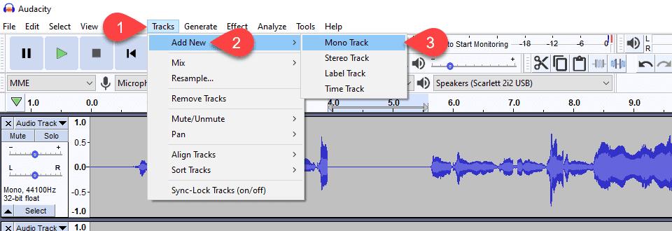 add new mono track