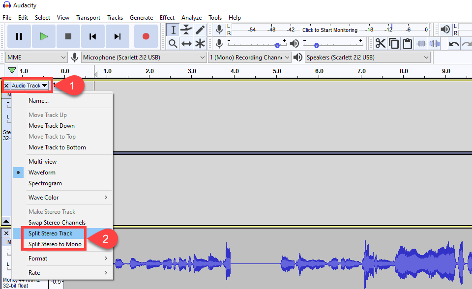 how to edit a podcast stereo track split to mono