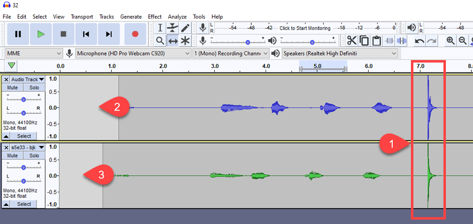 using the time shift tool to line up the claps