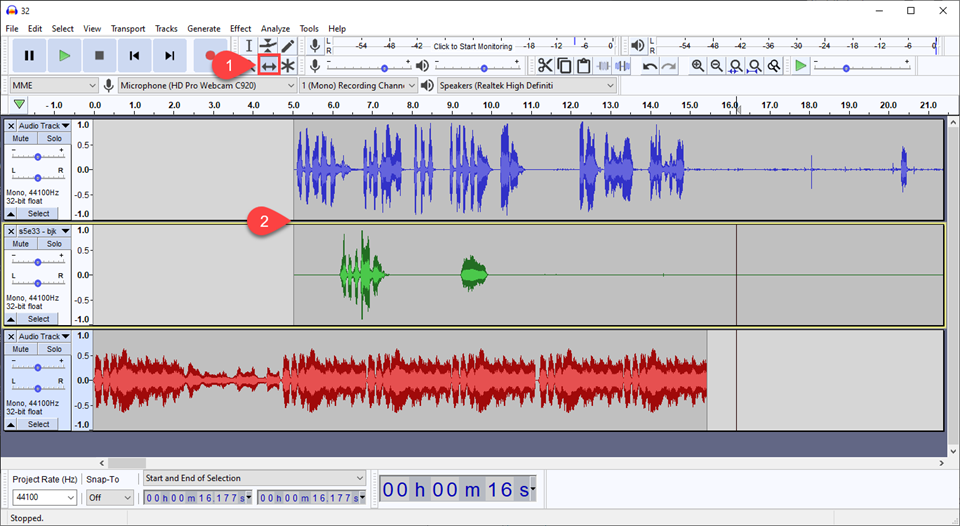 time shifting audio for intro