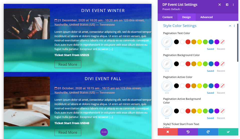 Divi Event List